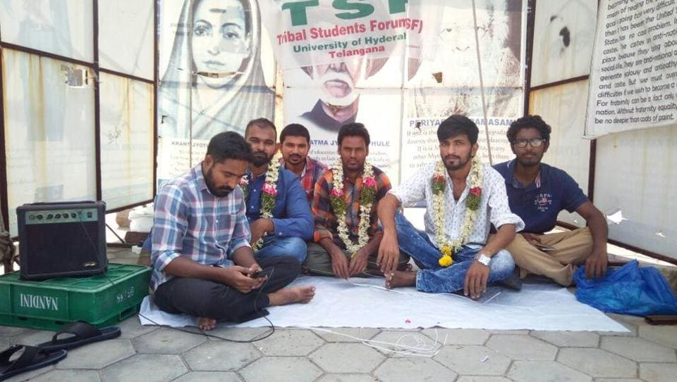 Tribal students of Hyderabad university protest at Velivada, a makeshift protest site where Rohith Vemula once raised slogans.