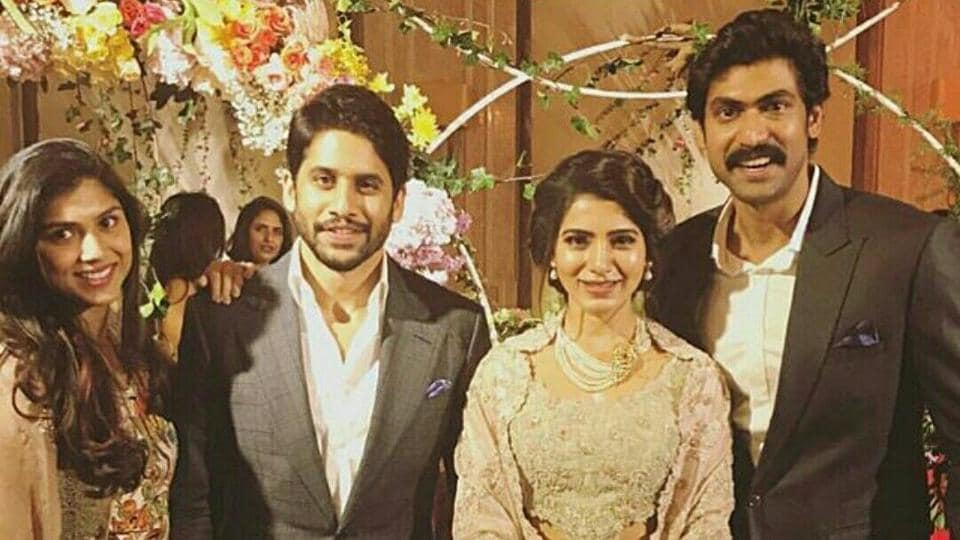 Samantha Akkineni with Malavika Daggubati, Naga Chaitanya and Rana Daggubati at her wedding reception.