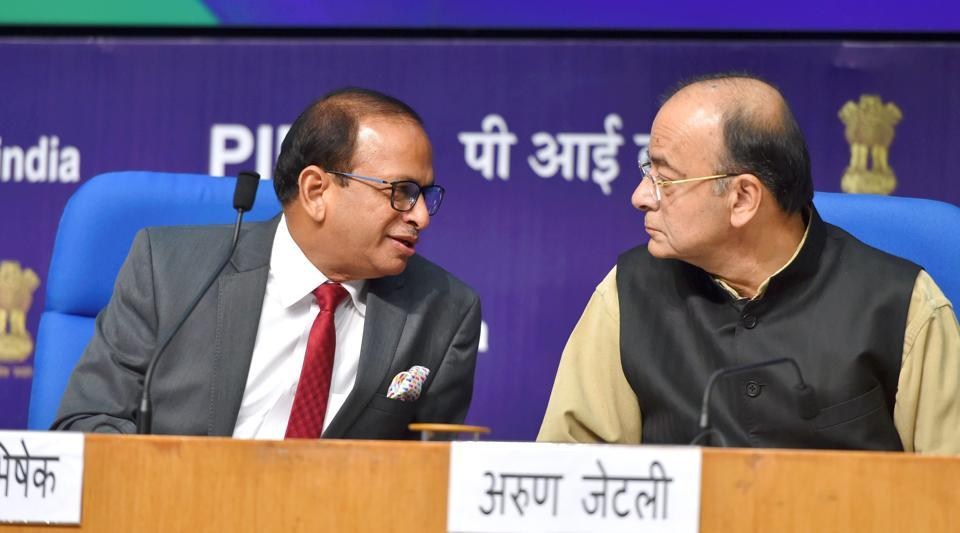Union Minister of Finance and Corporate Affairs, Arun Jaitley with DIPP Secretary Ramesh Abhishek at a press conference on India's ranking in the World Bank's Ease of Doing Business Report 2018, in New Delhi on Tuesday.