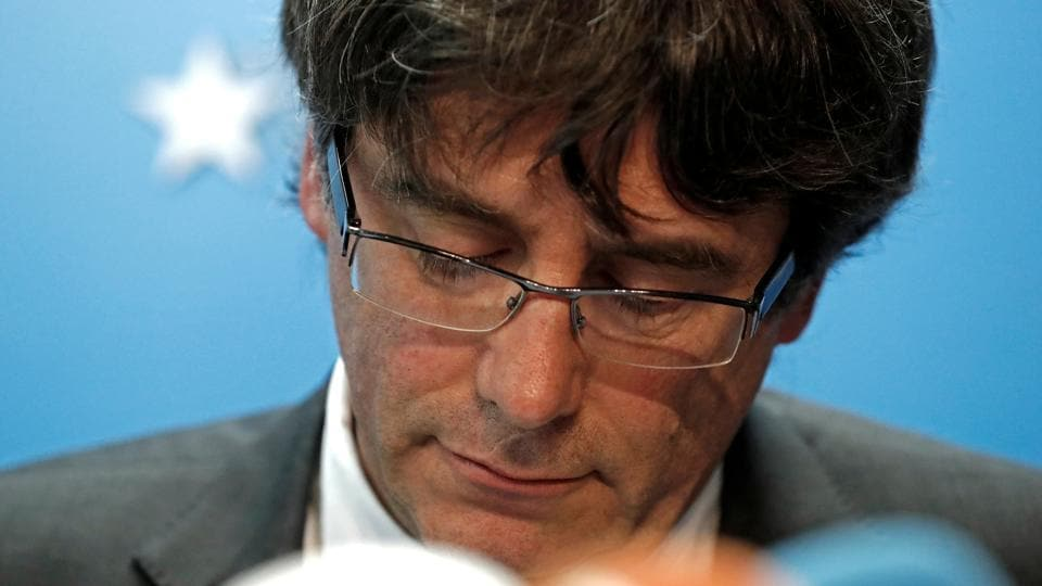 Sacked Catalan leader Carles Puigdemont attends a news conference at the Press Club Brussels Europe in Brussels on October 31.