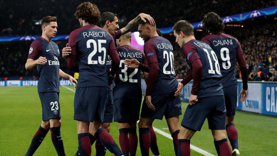 Paris Saint-Germain's Layvin Kurzawa celebrates scoring their fourth goal against Anderlecht at the Parc des Princes in Paris on Tuesday.