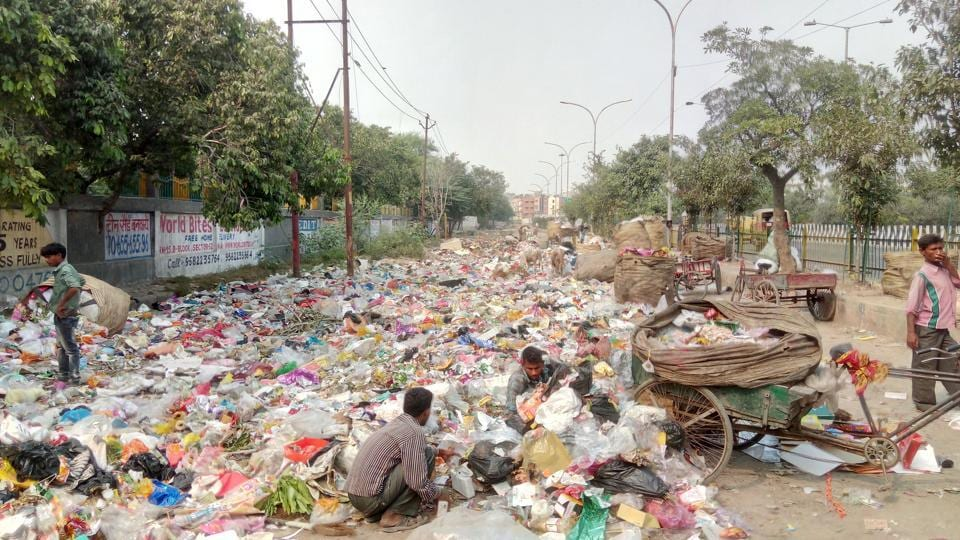 Garbage is dumped on roads and vacant plots in Noida.