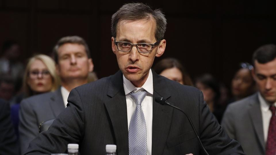 Richard Salgado, director of law enforcement and information security at Google, testifies before Senate Judiciary Crime and Terrorism Subcommittee hearing  on Capitol Hill in Washington on Tuesday.
