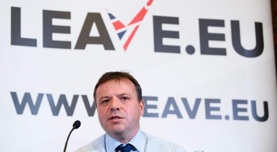 British businessman Arron Banks taking part in a press briefing by the