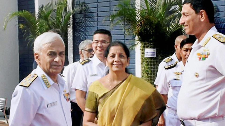 Defence minister Nirmala Sitharaman with Navy chief Sunil Lanba and other officers during the Goa Maritime Conclave - 2017 at Dabolim on Wednesday.