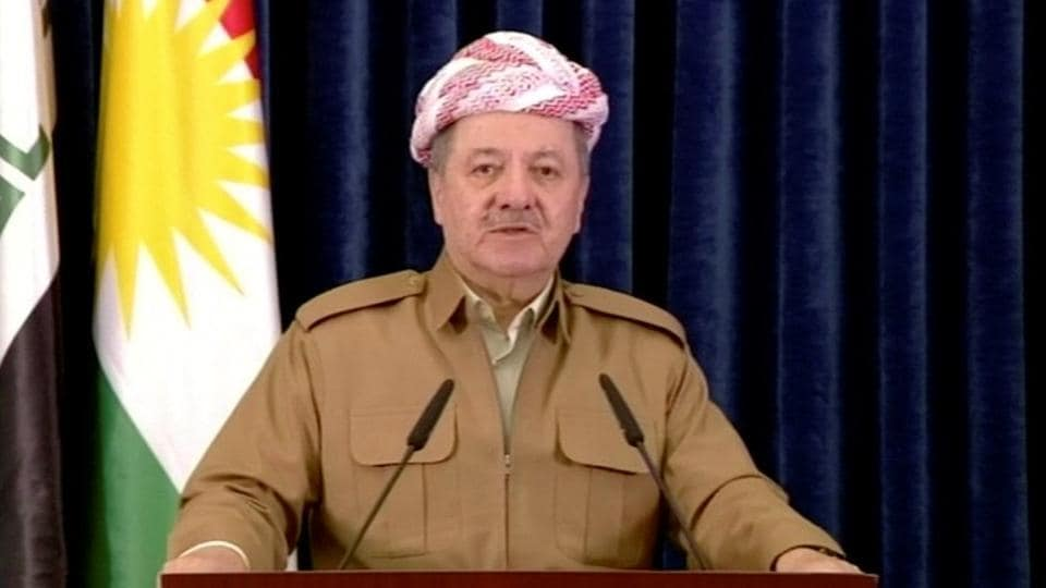 Masoud Barzani announces his decision to step down in a televised speech on October 29, 2017. Barzani, who has been at the forefront of Kurdish independence efforts for nearly four decades and the KRG president for 12 years, organised the September 25 referendum in defiance of Baghdad and world powers. In his speech he said he would 'remain a peshmerga' and 'continue to defend the achievements of the people of Kurdistan.' (KURDISTAN 24 TV via REUTERS TV)