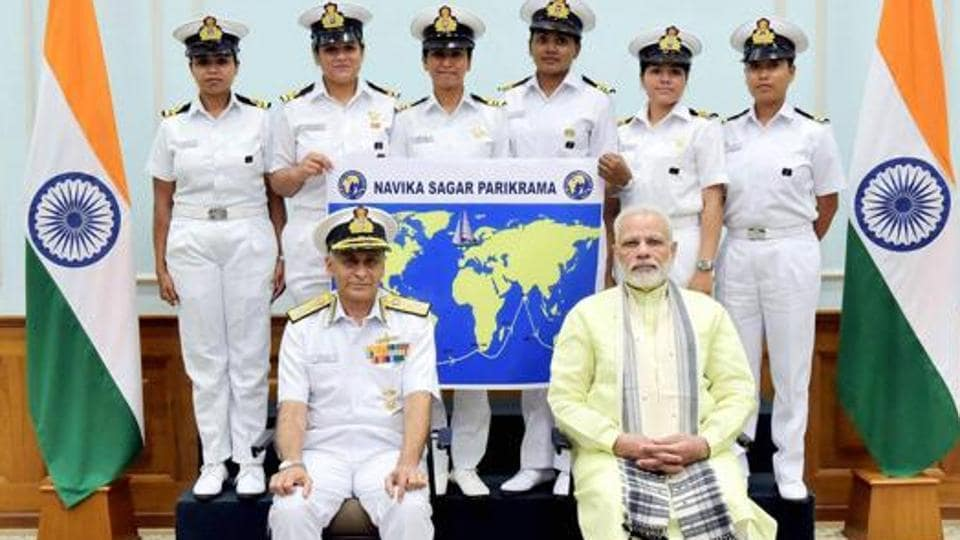 Prime Minister Narendra Modi with the six women officers of the Indian Navy who are expedition of circumnavigating the globe on the sailing vessel INSV Tarini in New Delhi on August 16, 2017.