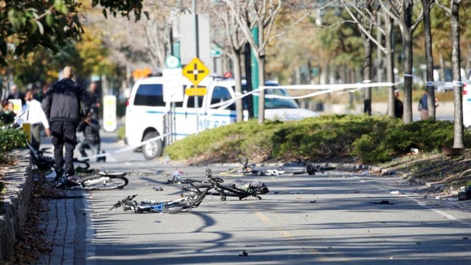 Mangled bikes are crushed along a bike path in lower Manhattan in New York on October 31, 2017. Officials speaking on condition of anonymity identified the attacker as 29-year-old Sayfullo Saipov from Uzbekistan and said he came to the US legally in 2010. Uber confirmed late Tuesday night that Saipov was one if its drivers and had been actively driving on the platform for more than six months.  (Brendan McDermid / REUTERS)