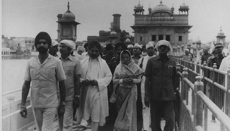 Then Prime Minister Indira Gandhi comes out after offering prayers at Harmandir Sahib in Amritsar. (HTfile photo)