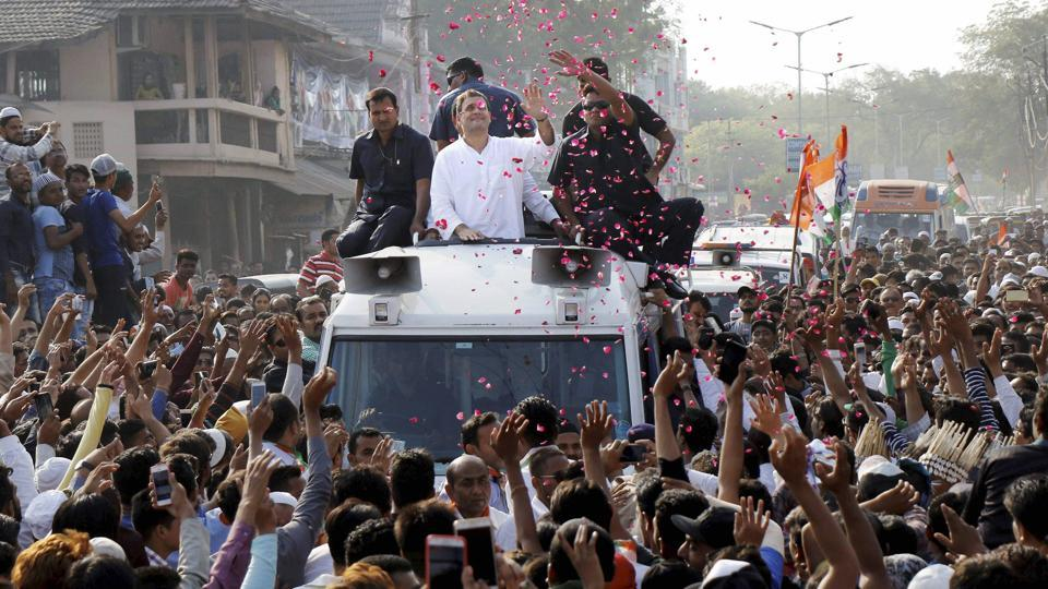 Congress vice-president Rahul Gandhi during a road show in Gujarat's Bharuch district on Wednesday.