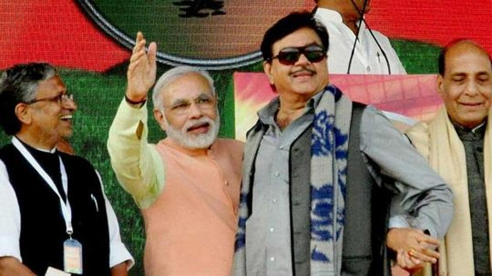 File photo of BJP MP Shatrughan Sinha with Prime Minister Narendra Modi, home minister Rajnath Singh and Bihar BJP leader Sushil Kumar Modi at a rally in Patna.