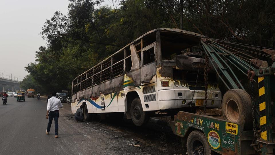 Thirty-three schoolchildren had a close shave on Tuesday when their bus caught fire near Dhaula Kuan as they were returning home from their school.