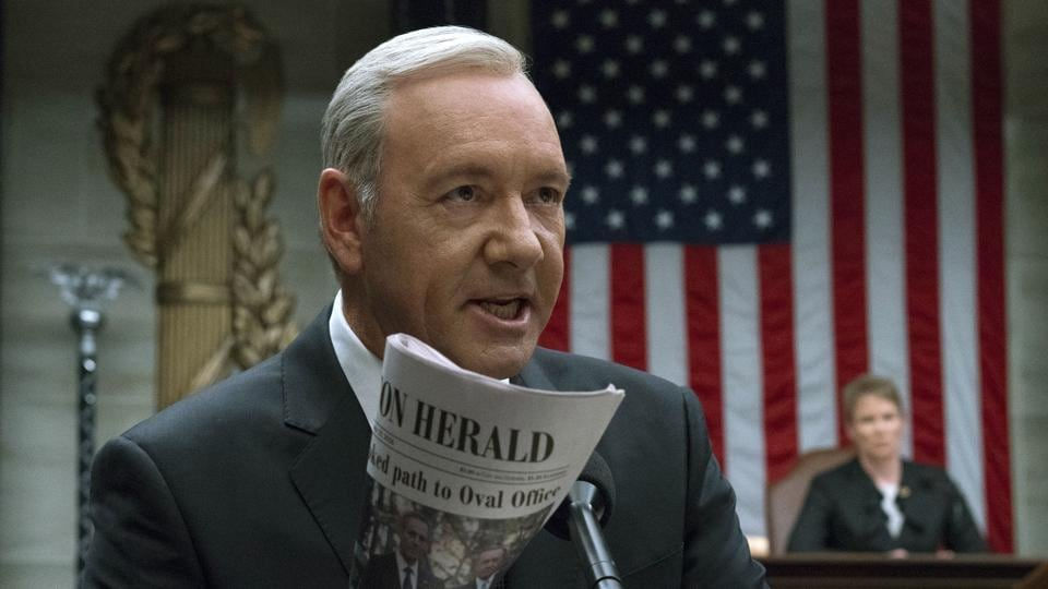 This image released by Netflix shows Kevin Spacey in a scene from House Of Cards.