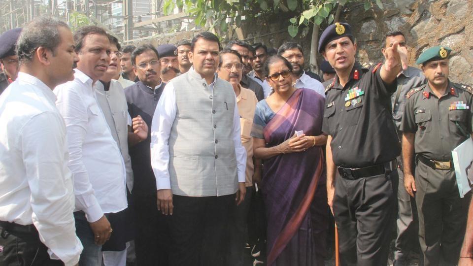 BJP's city unit chief Ashish Shelar, Union railway minister Piyush Goyal, defence minister Nirmala Sitharaman and chief minister Devendra Fadnavis at Elphinstone Road station on Tuesday.