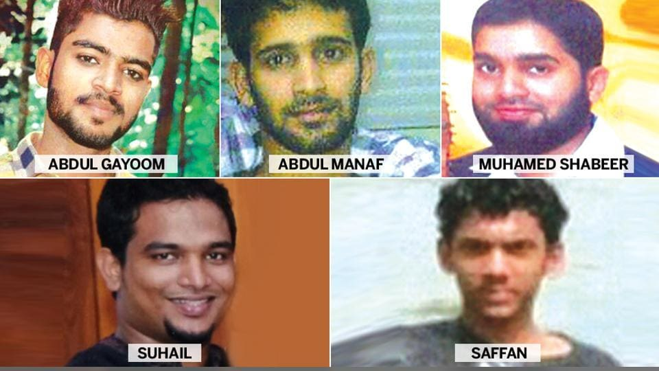 The photographs of five people who the Kerala police believe are fighting for Islamic State in Syria.