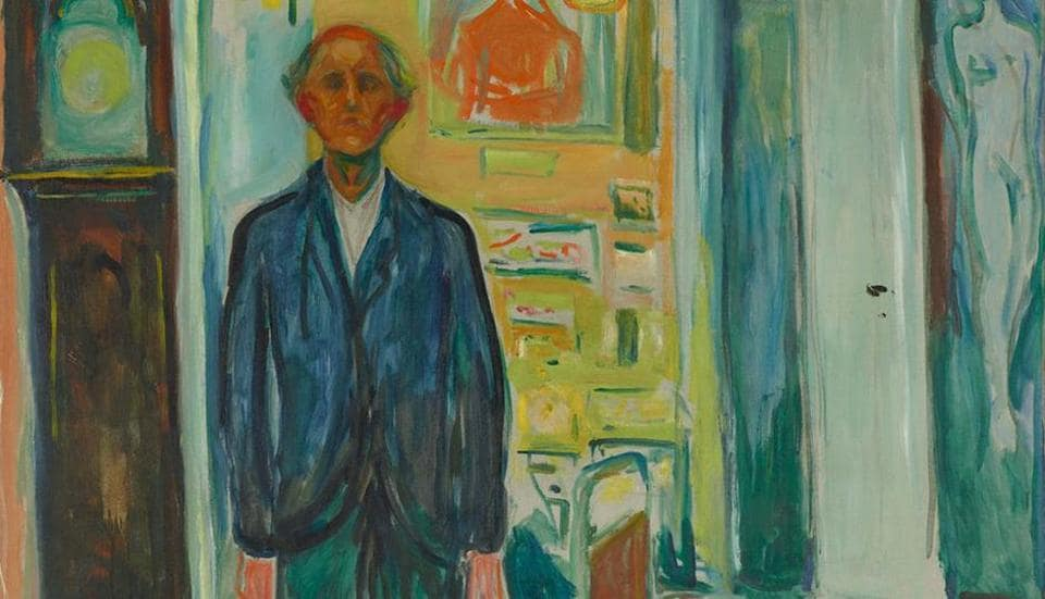 Edvard Munch, self-portrait. Between the Clock and the bed, 1940-43.