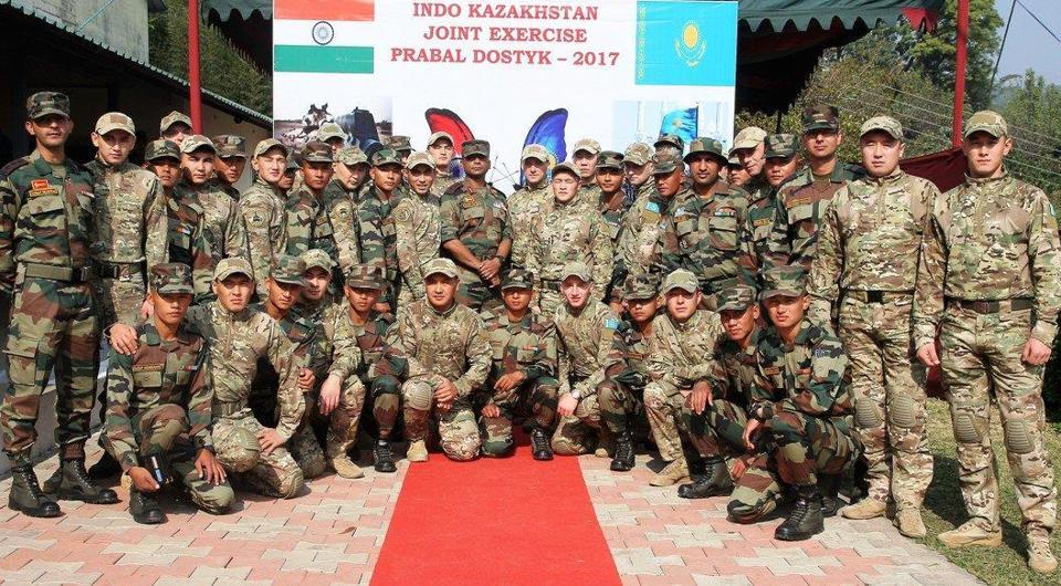 Training contingents of 3rd Battalion of the 11th Gorkha Rifles and Kazakhstan Army pose for pictures on Thursday.