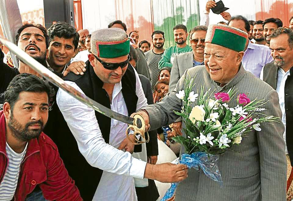 Virbhadra Singh during an election rally in Nurpur on Thursday.