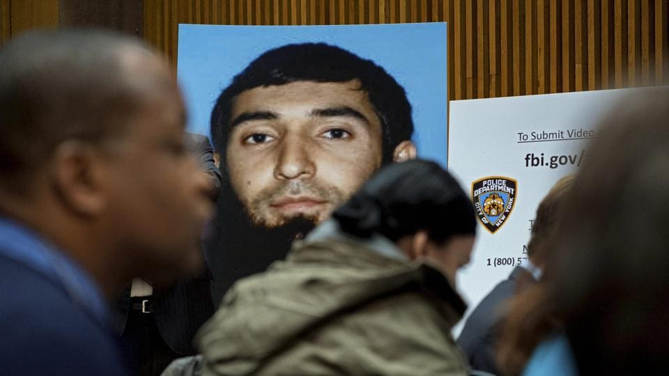 A photo of Sayfullo Saipov is displayed at a news conference at One Police Plaza on November 1 in New York.