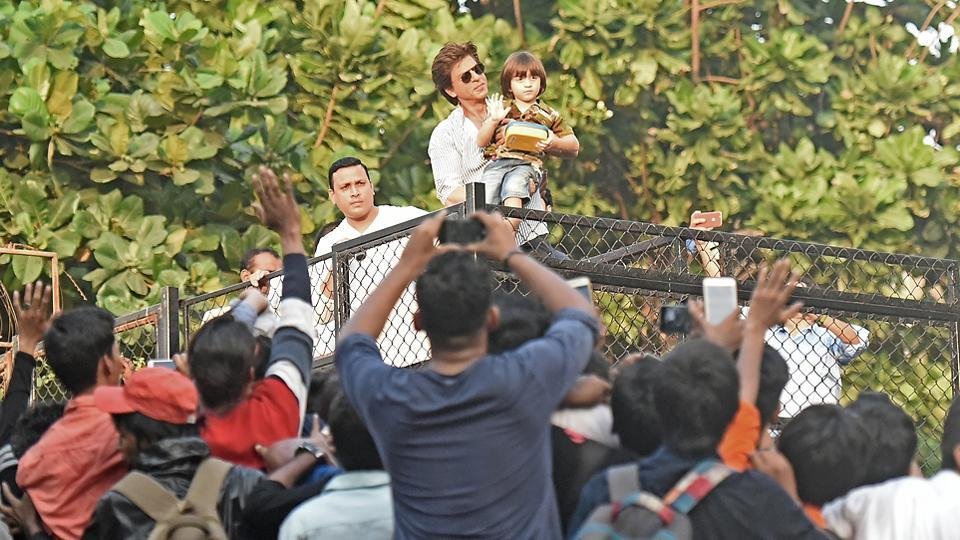 Shah Rukh Khan's youngest son, AbRam, also waves to his father's fans.  (Satyabrata Tripathy/HT Photo)
