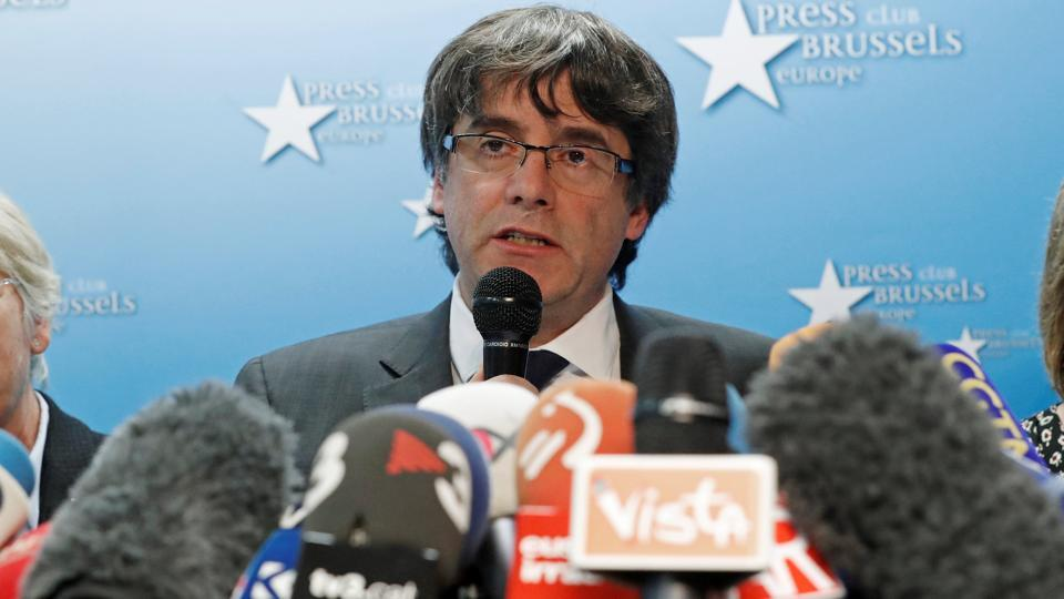 Sacked Catalan leader Carles Puigdemont and former members of the Government of Catalonia Clara Ponsati and Meritxell Borras attend a news conference at the Press Club Brussels Europe in Brussels, Belgium, October 31, 2017.