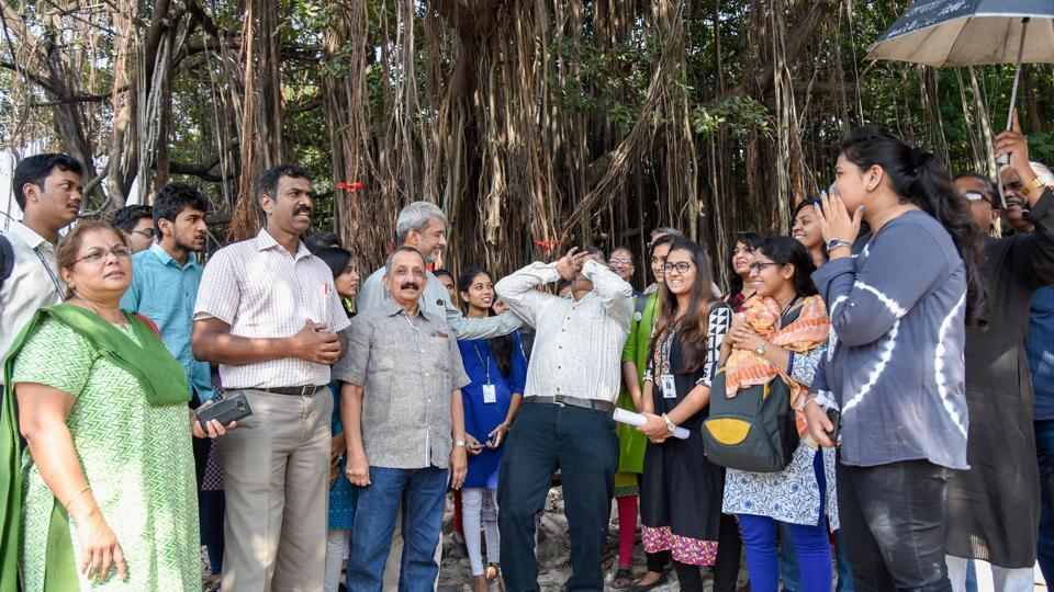 Environmentalist and residents protest against the felling of trees at University Circle in Pune on November 1.