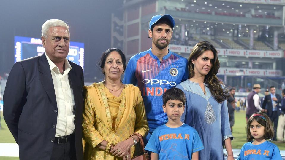 Ashish Nehra spent some time with his family after the match ended. (PTI)