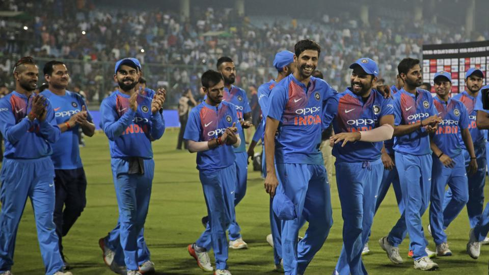 The Indian cricket team joined Nehra in the celebrations after winning by 53 runs against New Zealand.  (AP)