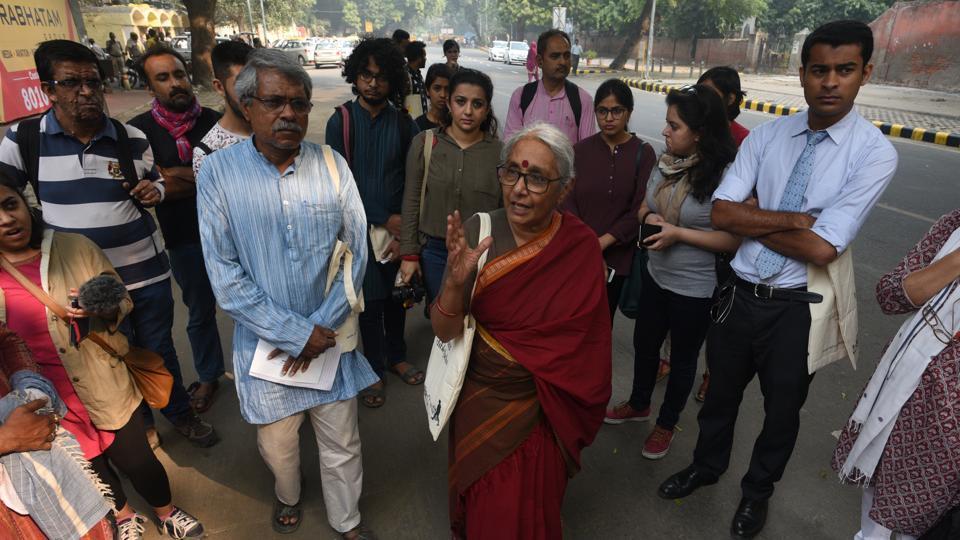 Activist Aruna Roy conducts a walk in Jantar Mantar grounds  on Wednesday.