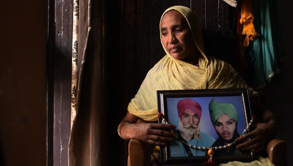 Sheela Kaur, who had testified against Congress leader Sajjan Kumar, at her home in New Delhi's Tilak Vihar on Wednesday.