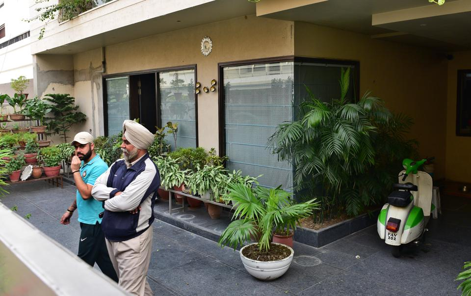 The house of assistant town planner Surinder Singh Bindra (right) in a Ludhiana locality that was raided by the income tax department on Thursday.