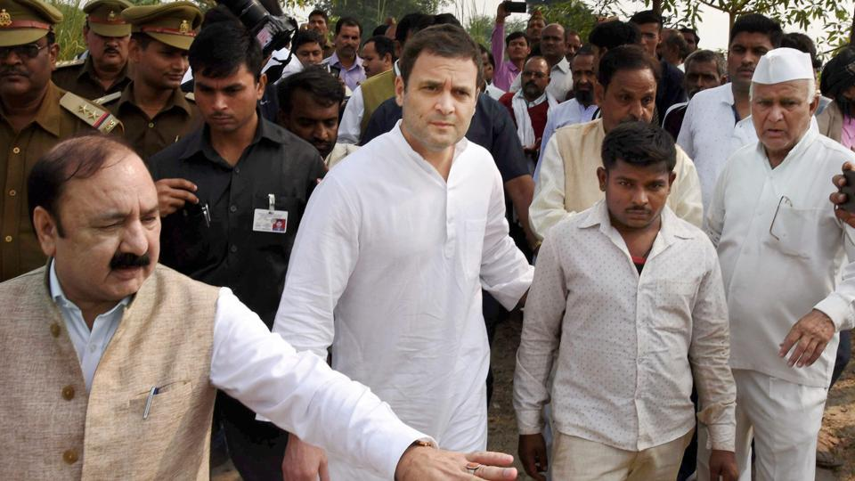 Congress vice-president Rahul Gandhi arrives to meet the family members of the victims of Unchahar NTPC boiler blast in Raebareli on Thursday.