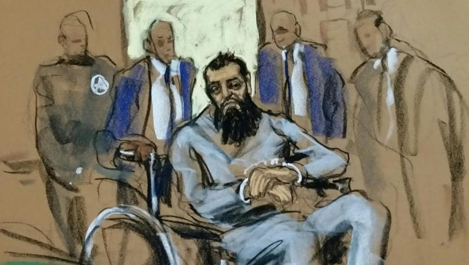 Sayfullo Saipov, the suspect in the New York City truck attack, is seen in this courtroom sketch appearing in Manhattan federal courtroom in a wheelchair in New York, NY, US, on November 1, 2017.