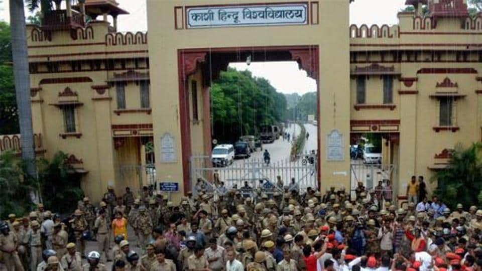 Heavy police force deployed outside the Banaras Hindu University after protest erupted over police laticharge on the female students of the university in September.