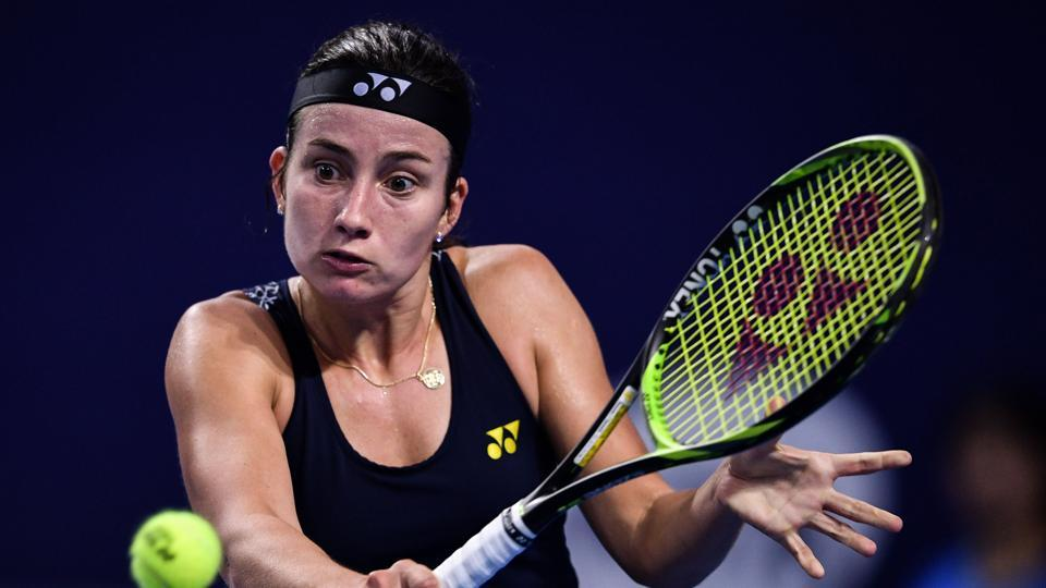 Anastasija Sevastova  in action against Barbara Strycova at the WTA Elite Trophy tennis tournament.