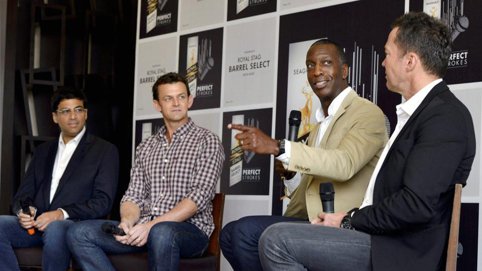 (L-R) Vishwanathan Anand, Adam Gilchrist, Michael Johnson and Lothar Matthaus interact with the media in New Delhi on Thursday.  (PTI)