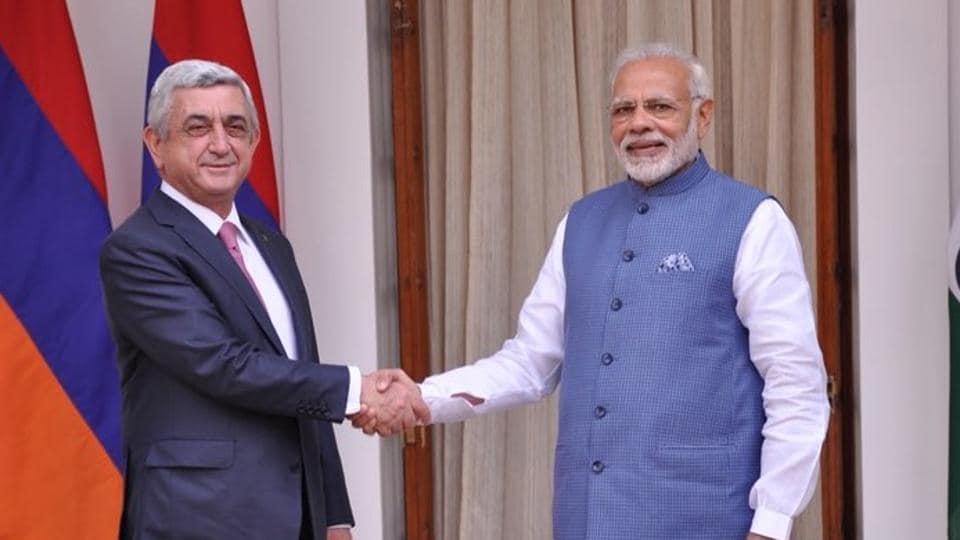 PM Narendra Modi meets President Serzh Sargsyan of Armenia on November 3, 2017.