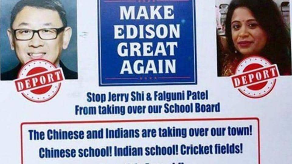 The purported flyer that has been doing the rounds in New Jersey's Edison. Falguni Patel (right) and Jerry Shi (left) are running for a school board election.
