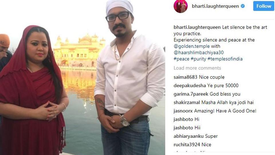 Bharti Singh with boyfriend Haarsh Limbachiyaa at the Golden Temple.