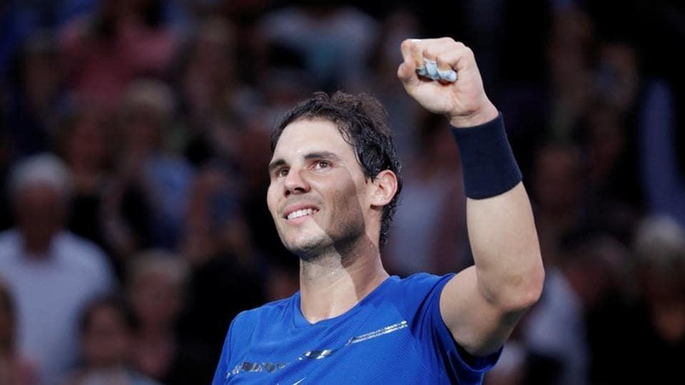 Rafael Nadal of Spain celebrates winning his third round match against Uruguay's Pablo Cuevas at Paris Masters on Thursday.