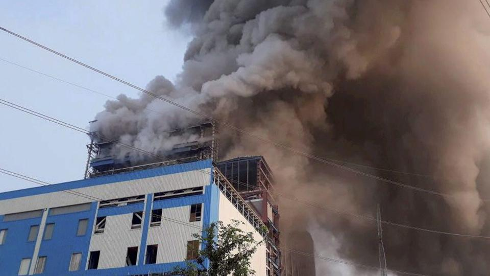 Smoke billowing out of NTPC's Unchahar power plant in Rae Bareli  where a blast in a boiler on Wednesday killed 32 people.