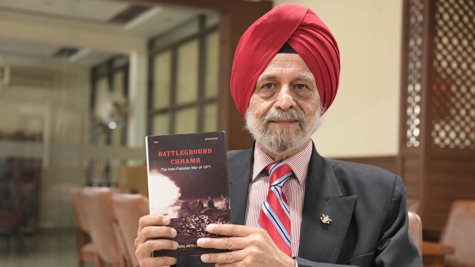 Major General AJS Sandhu (retd) with his book 'Battleground Chhamb' in Chandigarh on Friday.