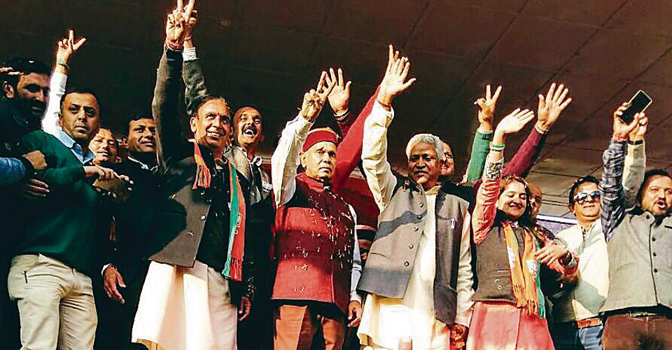 BJP's CM face Prem Kumar Dhumal addressing an election rally in Kotkhai in Shimla.