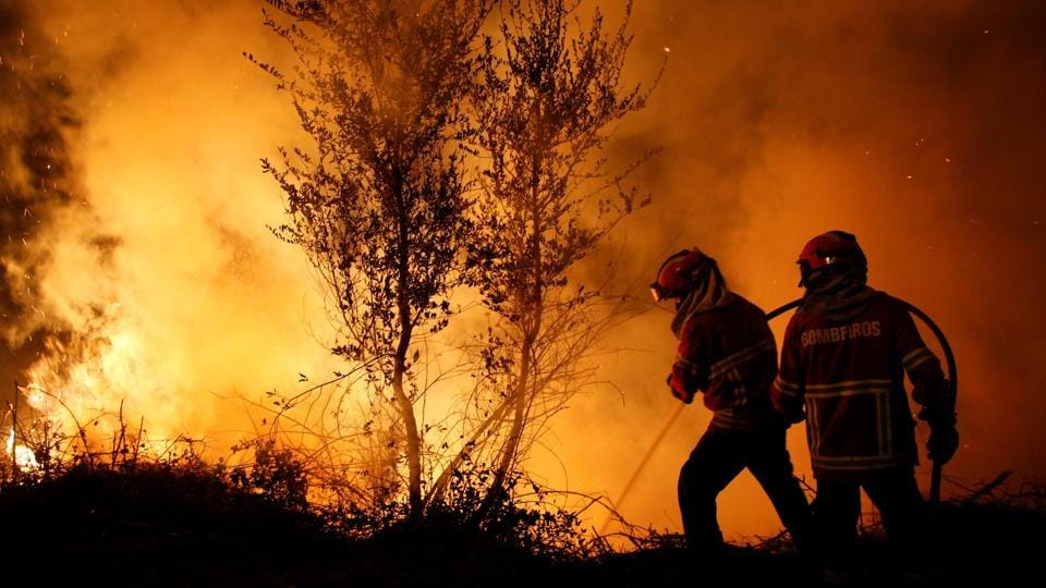 Firefighters work to extinguish flames from a forest fire in Cabanoes near Lousa, in Portugal, on October 16, 2017.