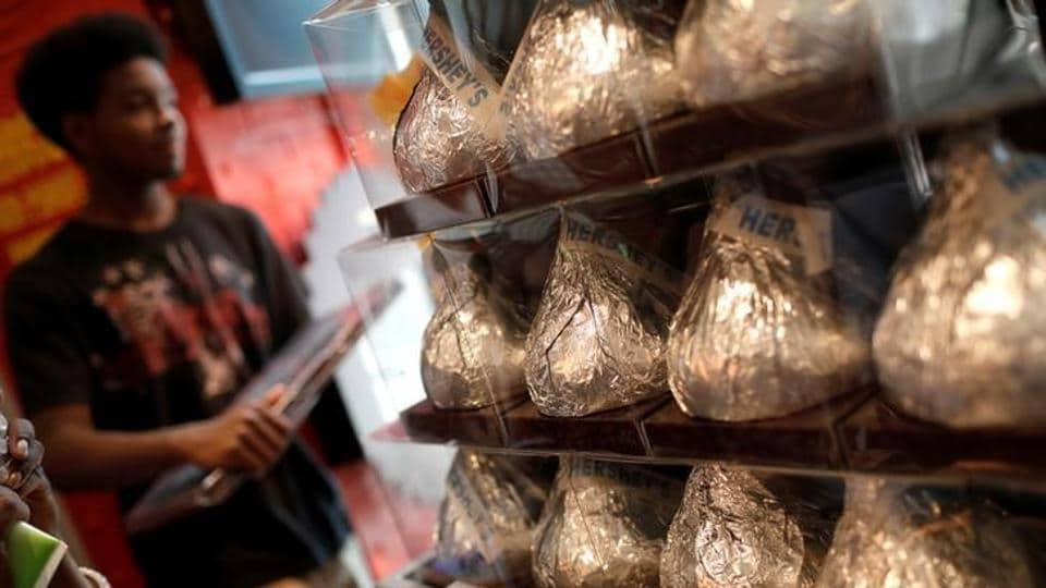 Hershey's chocolates seen at a shop in New York City. (REUTERS)