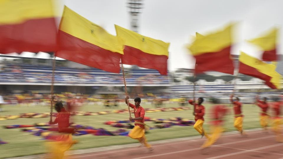 Students take part in the Karnataka Rajyotsava celebration at Kanteerava Stadium in Bengaluru on November 01, 2017. Translated literally into 'State Festival', the celebrations mark the date of the erstwhile Mysore state's expansion in 1956 to include Kannada speaking regions in South India, making what later came to be known as Karnataka. (Arijit Sen / HT Photo)