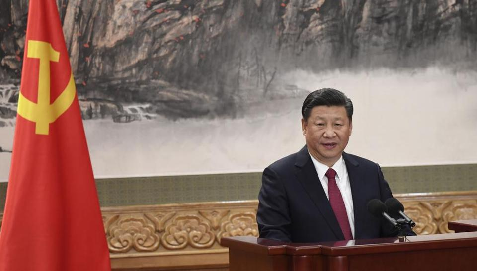 Chinese President Xi Jinping addresses the press at the Great Hall of the People in Beijing on October 25, 2017.