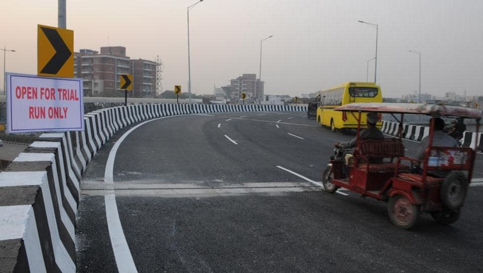 NHAI opened for trial run an elevated u turn road from MG Road to Delhi and Sector-17c for daily commuters on Wednesday evening, in Gurgaon, India.