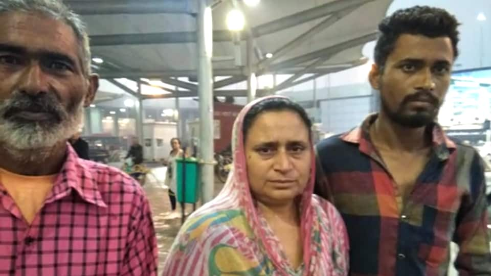 Gurbaksh Kaur with her relatives in Delhi after her arrival from Saudi Arabia.