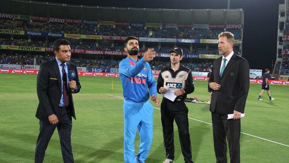 New Zealand won the toss and chose to bat on a flat deck at Rajkot.  (BCCI)